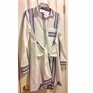 New~ Derek Lam Poplin Tie Waist Shirt dress
